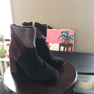 Suede color block booties